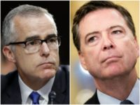 Collage of Andrew McCabe and James Comey