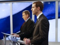 Democrat Connor Lamb, right, and Republican Rick Saccone are prepped before the taping of their first debate in the special election in the Pa., 18th Congressional District at the KDKA TV studios, Monday, Feb. 19, 2018, in Pittsburgh. The debate was recorded in the afternoon and scheduled to be broadcast …