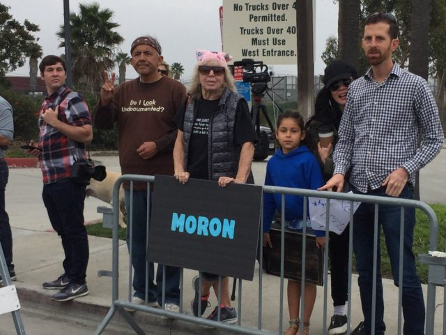 Anti-Trump protesters at border (Joel Pollak / Breitbart News)