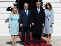 US President Donald Trump and First Lady Melania Trump greet Israel Prime Minister Benjamin Netanyahu and Sara Netanyahu of Israel at the White House March 5, 2018 in Washington, DC. The prime minister is on an official visit to the US until the end of the week. (Photo by Olivier …