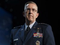 General John Hyten, commander of United States Air Force Space Command, speaks during the 32nd Space Symposium in Colorado Springs, Colorado, U.S., on Tuesday, April 12, 2016. The Space Symposium brings together international leaders and experts to discuss the future of space, space policy, and program expansions. Photographer: Matthew Staver/Bloomberg via Getty Images