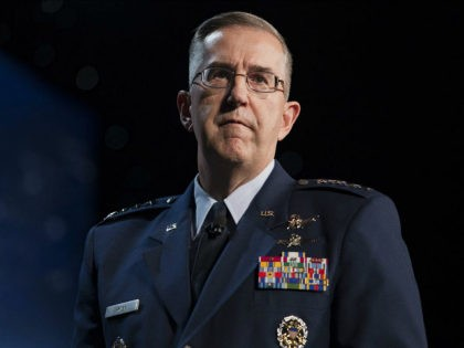 General John Hyten, commander of United States Air Force Space Command, speaks during the 32nd Space Symposium in Colorado Springs, Colorado, U.S., on Tuesday, April 12, 2016. The Space Symposium brings together international leaders and experts to discuss the future of space, space policy, and program expansions. Photographer: Matthew Staver/Bloomberg …