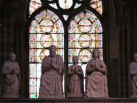 This picture taken on October 19, 2016, in Saint-Denis, northern Paris, shows statutes at the Basilica Cathedral of Saint-Denis, which is France's royal necropolis, the final resting place of the kings and queens of France. / AFP / CHRISTOPHE ARCHAMBAULT (Photo credit should read CHRISTOPHE ARCHAMBAULT/AFP/Getty Images)