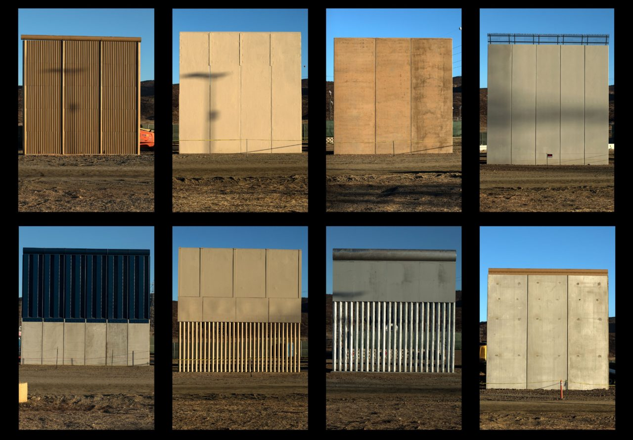 All eight border wall prototypes (Guillermo Arias / AFP / Getty)