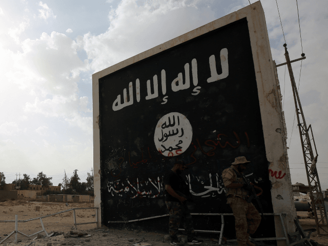 Iraqi fighters of the Hashed al-Shaabi (Popular Mobilisation units) stand next to a wall bearing the Islamic State (IS) group flag as they enter the city of al-Qaim, in Iraq's western Anbar province near the Syrian border as they fight against remnant pockets of Islamic State group jihadists on November …