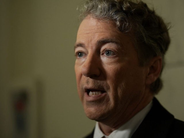 WASHINGTON, DC - FEBRUARY 08: U.S. Sen. Rand Paul (R-KY) participates in a TV interview outside his office at Russell Senate Office Building on Capitol Hill February 8, 2018 in Washington, DC. Sen. Paul made a move to block a budget deal Thursday as the government will run out of …