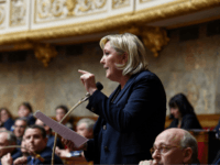French far-right Front National (FN) party president Marine Le Pen gestures as she speaks during a session of questions to the government on February 14, 2018 at the French National Assembly in Paris. / AFP PHOTO / BERTRAND GUAY (Photo credit should read BERTRAND GUAY/AFP/Getty Images)