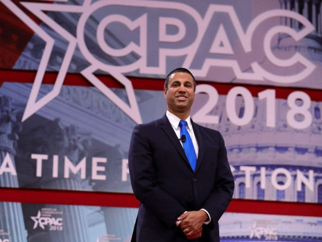 NATIONAL HARBOR, MD - FEBRUARY 23: Federal Communication Commission Chairman Ajit Pai arrives at the Conservative Political Action Conference at the Gaylord National Resort and Convention Center February 23, 2018 in National Harbor, Maryland. Pai was given the 'Charlton Heston Courage Under Fire Award' by the National Rifle Association during …