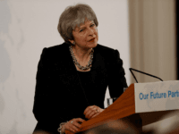 British Prime Minister Theresa May gives a speech on Brexit at Mansion House in London on March 2, 2018. Prime Minister Theresa May will call today for an unprecedented free trade deal with the EU after Brexit in a major speech, but is expected to acknowledge that Britain will have …
