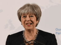 LONDON, ENGLAND - MARCH 02: British Prime Minister Theresa May delivers a speech at Mansion House on March 2, 2018 in London, England. Theresa May sets out five tests for the future deal between the UK and the EU. She believes a broad and deep free trade agreement will be …