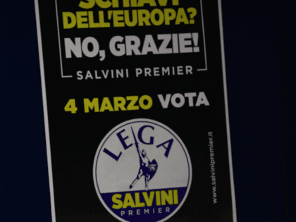 Lega Nord far right party leader Matteo Salvini sits during the closing campaign rally in Milan on March 2, 2018 ahead of Sunday's general election poles. Italy's rival political parties wrap up a bitter campaign on Friday ahead of an election on Sunday in which former prime minister Silvio Berlusconi …