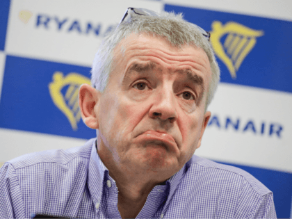 Ryanair CEO Michael O'Leary attends a press conference of Irish low-cost airline Ryanair, on March 6, 2018, in Brussels. / AFP PHOTO / BELGA AND Belga / ERIC LALMAND (Photo credit should read ERIC LALMAND/AFP/Getty Images)