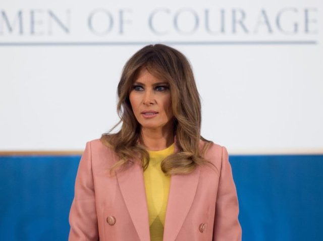 US First Lady Melania Trump speaks during the 2018 International Women of Courage Award Ceremony at the State Department in Washington, DC, March 23, 2018. / AFP PHOTO / SAUL LOEB (Photo credit should read SAUL LOEB/AFP/Getty Images)