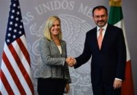 Mexican Minister of Foreign Affairs Luis Videgaray (R) shakes hands with US Secretary of Homeland Security Kirstjen Nielsen in Mexico City on March 26, 2018. / AFP PHOTO / RONALDO SCHEMIDT (Photo credit should read RONALDO SCHEMIDT/AFP/Getty Images)