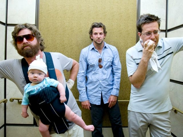 Bradley Cooper, Zach Galifianakis, and Ed Helms in The Hangover (2009, Warner Bros.)