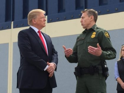 President Trump visiting border wall in prototypes in San Diego County, California. (Joel Pollak / Breitbart News)