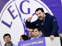 Lega Nord far right party leader Matteo Salvini address supporters during a campaign rally on Piazza Duomo in Milan on February 24, 2018 a week ahead of the Italy's general election.