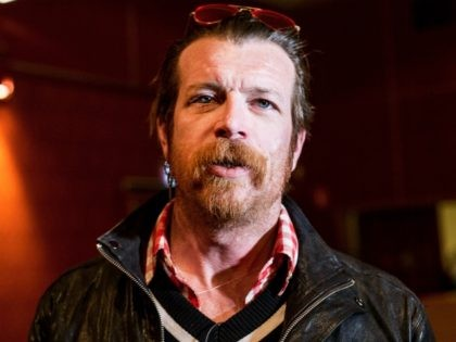 Jesse Hughes, the singer of the American band 'Eagles of Death Metal' is seen during an interview with AFP in Stockholm on February 13, 2016. The Eagles of Death Metal band played at the Bataclan concert hall in Paris, when a jihadist attacktook place in which 90 people died. / …