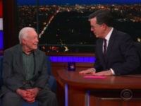 Jimmy Carter sits down with Stephen Colbert on Friday, March 30, 2018.