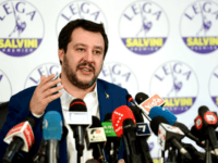 Lega far right party leader Matteo Salvini gestures during a press conference held at the Lega headquarter in Milan on March 5, 2018 ahead of the Italy's general election results. A surge for populist and far-right parties in Italy's weekend election could result in a hung parliament with a right-wing …