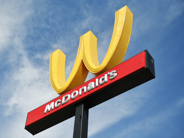 McDonald's in California turns it's golden arches upside to the letter W in honor of International Women's Day on March 8, 2018 in Lynwood, California. (Photo by Neilson Barnard/Getty Images)