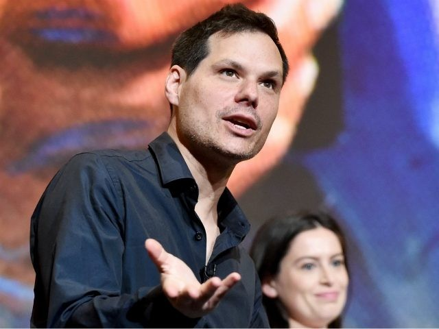MAY 18: Panel moderator Michael Ian Black (L) and producer Lilly Burns speak onstage during the 'Search Party' ATAS event at Saban Media Center on May 18, 2017 in North Hollywood, California. 27010_001 (Photo by Emma McIntyre/Getty Images for TBS)