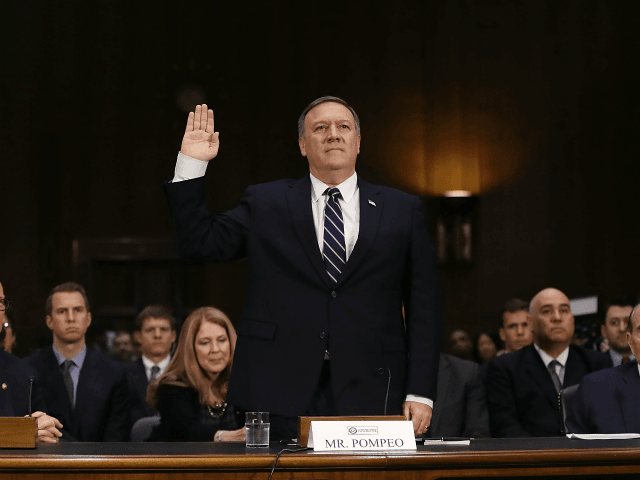 WASHINGTON, DC - JANUARY 12: U.S. President-elect Donald Trump's nominee for the director of the CIA, Rep. Mike Pompeo (R-KS) is sworn in at his confirmation hearing before the Senate (Select) Intelligence Committee on January 12, 2017 in Washington, DC. Mr. Pompeo is a former Army officer who graduated first …