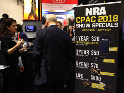 Membership specials for the National Rifle Association are available at the organization's booth inside the Conservative Political Action Conference Hub at the Gaylord National Resort and Convention Center February 23, 2018 in National Harbor, Maryland. Earlier in the day U.S. President Donald Trump addressed CPAC, the largest annual gathering of …
