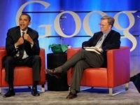 Democratic presidential hopeful Sen. Barack Obama, D-Ill., left, speaks with Google CEO Dr. Eric Schmidt at Google headquarters in Mountain View, Calif., Wednesday, Nov. 14, 2007. (AP Photo/Jeff Chiu)