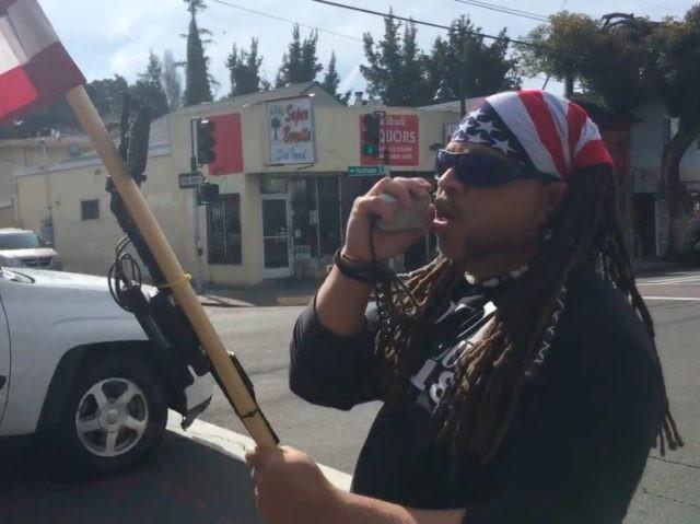 Pro-Trump protester at Oakland Cafe (AshtonBirdie / YouTube / Screenshot)