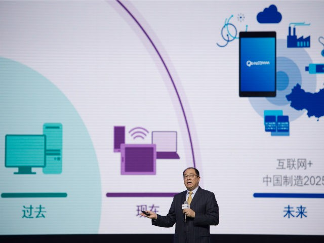 Frank Meng, chairman of Qualcomm China, makes a speech during the Global Mobile Internet Conference (GMIC) at the National Convention Centre in Beijing on April 28, 2016. GMIC is hosting mobile executives, entrepreneurs, developers, and investors from around the world. / AFP / NICOLAS ASFOURI (Photo credit should read NICOLAS …