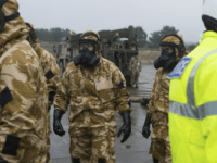 Members of the Falcon Squadron, Royal Tank Regiment, at Winterbourne Gunner, southern England, conducting final preparation and training before deploying in support of the civil authorities in Salisbury city centre, Friday March 9, 2018. British police asked the military on Friday to help investigate the nerve-agent poisoning of a former …