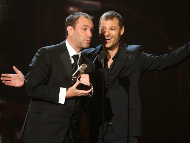 Trey Parker and Matt Stone speak onstage at the First Annual Comedy Awards at Hammerstein Ballroom on March 26, 2011 in New York City. (Photo by Dimitrios Kambouris/Getty Images)