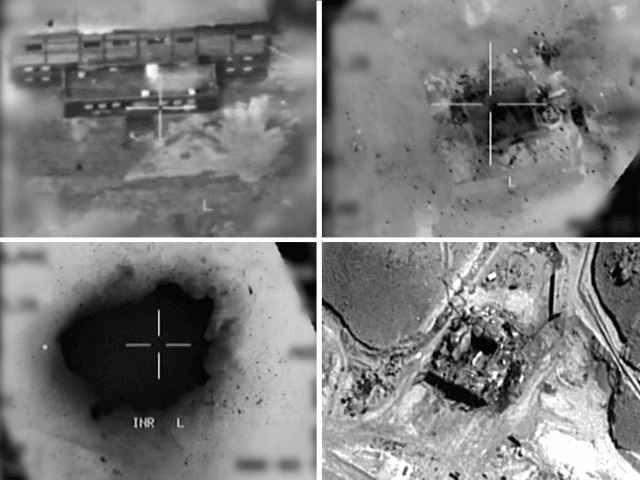 This combination of pictures created on March 20, 2018 of handout images provided by the Israeli army reportedly shows an aerial view of a suspected Syrian nuclear reactor during bombardment in 2007. Israel's military admitted for the first time on March 20 responsibity for a 2007 air raid against a …