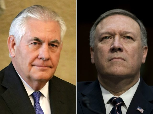 This combination of pictures created on March 13, 2018 shows then US Secretary of State Rex Tillerson (L) on February 15, 2018 and then US Congressman Mike Pompeo, on January 12, 2017. US President Donald Trump ousts top diplomat Rex Tillerson and named Mike Pompeo as he successor at the …