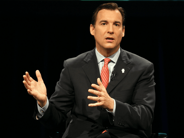 New York State Democratic Gubernatorial candidate Tom Suozzi is seen gesturing as he speaks during a televised live Town Hall Meeting for Governor held at Pace University in New York City, Wednesday, August 30, 2006. The other candidates Eliot Spitzer and John Faso were being televised from other cities in …