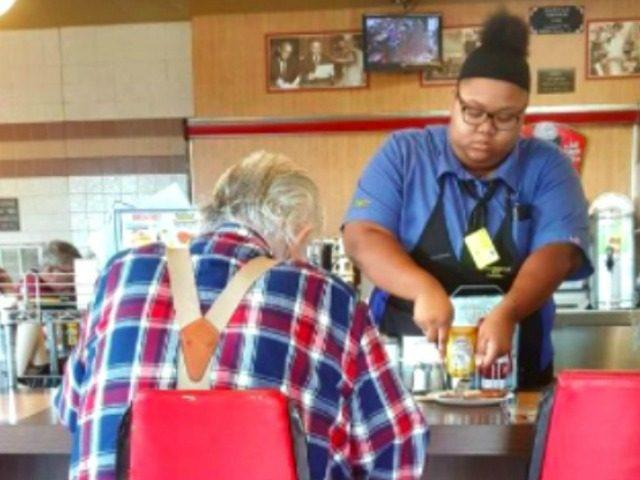Waitress Cuts Food