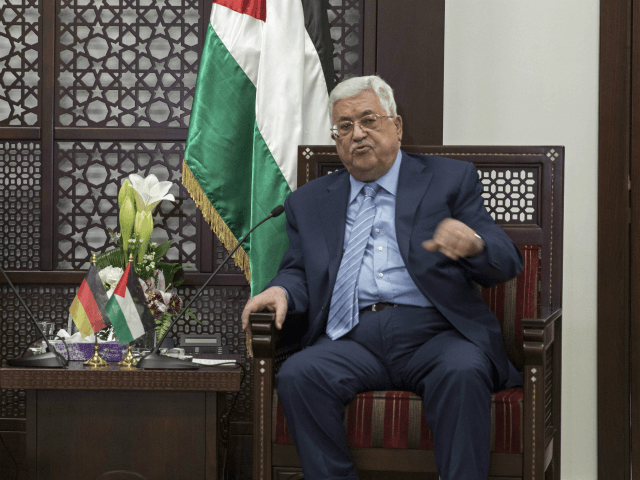 Palestinian President Mahmoud Abbas, in the West Bank Town of Ramallah, Wednesday, Jan. 31, 2018. (Atef Safadi/Pool Photo via AP)