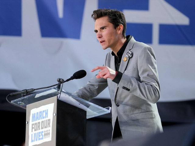 Marjory Stoneman Douglas student David Hogg speaks during March for Our Lives to demand stricter gun control laws on Saturday, March 24, 2018, in Washington, D.C. (Mike Stocker/Sun Sentinel/TNS via Getty Images)