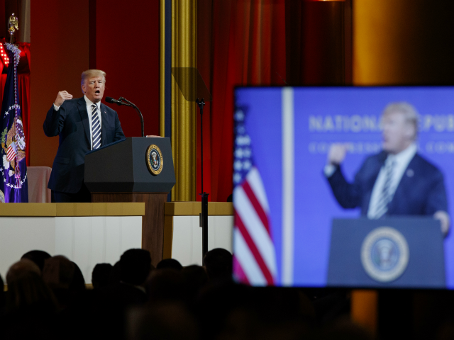 President Donald Trump speaks to the National Republican Congressional Committee March Dinner, at the National Building Museum Tuesday, March 20, 2018, in Washington. (AP Photo/Evan Vucci)