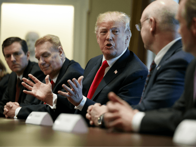 President Donald Trump speaks during a meeting with steel and aluminum executives in the Cabinet Room of the White House, Thursday, March 1, 2018, in Washington. From left, Roger Newport of AK Steel, John Ferriola of Nucor, Trump, Dave Burritt of U.S. Steel Corporation, and Tim Timkin of Timken Steel. …