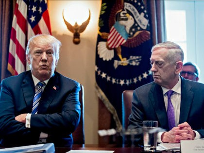 U.S. President Donald Trump speaks as Jim Mattis, U.S. secretary of defense, right, listens during a cabinet meeting at the White House in Washington, D.C., U.S., on Thursday, March 8, 2018. Trump opened the cabinet session promoting a very big meeting on steel and aluminum tariffs on Thursday afternoon. Photographer: …