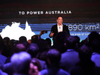 Elon Musk during his presention during Tesla Powerpack Launch Event at Hornsdale Wind Farm on September 29, 2017 in Adelaide, Australia. Tesla will build the world's largest lithium ion battery after coming to an agreement with the South Australian government. The Powerpack project will be capable of an output of 100 megawatts (MW) of power at a time and the huge battery will be able to store 129 megawatt hours (MWh) of energy. Tesla CEO Elon Musk has promised to build the Powerpack in 100 days, or he will deliver it for free. (Photo by Mark Brake/Getty Images)