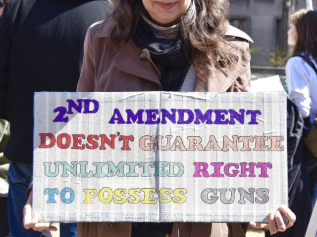 Many protestors at the March for Our Lives event on Saturday in Washington, DC, were against the Constitution's Second Amendment. (Credit: Penny Starr/Breitbart News)