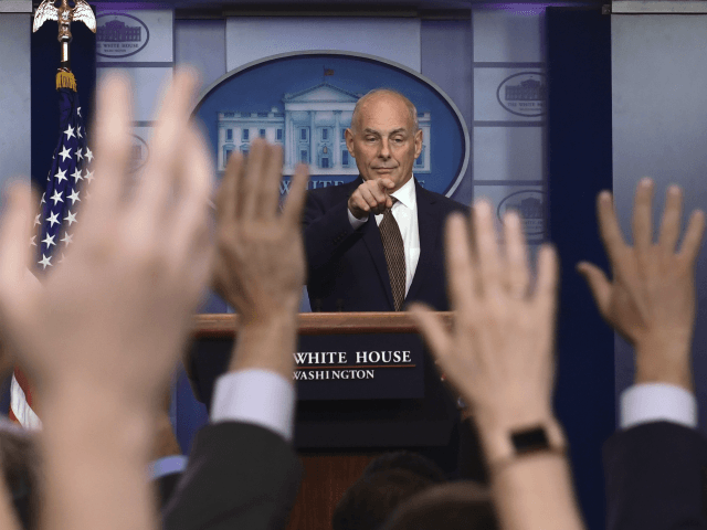 "White House Chief of Staff John Kelly calls on a reporter during the daily briefing at the White House in Washington, Thursday, Oct. 12, 2017. Kelly insisted he's not quitting or being fired — for now. ""Unless things change, I'm not quitting, I'm not getting fired and I don't think …"
