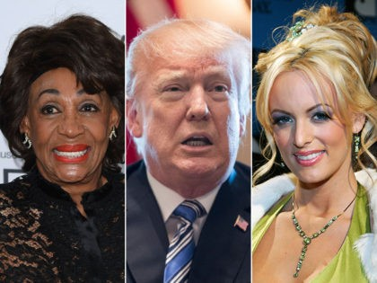 Rep. Maxine Waters (D-CA), President Donald Trump, and pornographic actress Stormy Daniels.