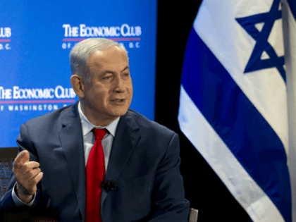 Israeli Prime Minister Benjamin Netanyahu speaks at the Economic Club of Washington, Wednesday, March 7, 2018, in Washington. (AP Photo/Jose Luis Magana)