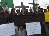 Pakistani Christians protest after a suicide bombers attacked a Methodist church during a Sunday service in Quetta on December 17, 2017. At least eight people were killed and 30 wounded when two suicide bombers attacked a church in Pakistan during a service on December 17, just over a week before Christmas, police said. / AFP PHOTO / ARIF ALI (Photo credit should read ARIF ALI/AFP/Getty Images)