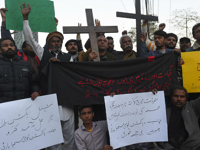 Pakistani Christians protest after a suicide bombers attacked a Methodist church during a Sunday service in Quetta on December 17, 2017. At least eight people were killed and 30 wounded when two suicide bombers attacked a church in Pakistan during a service on December 17, just over a week before …