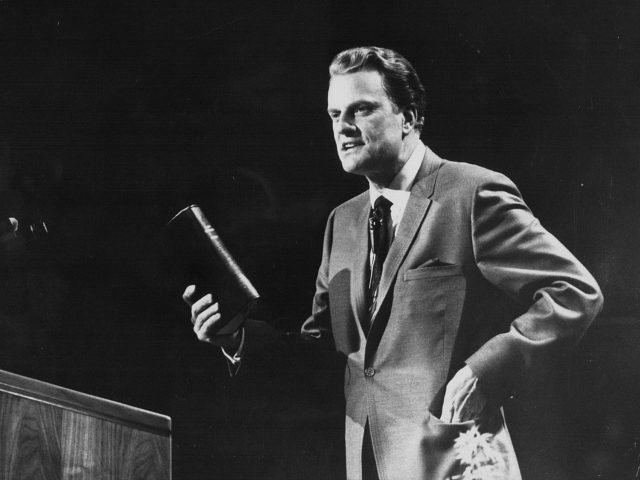American evangelist Billy Graham, giving a speech on stage, circa 1970. (Photo by Keystone/Hulton Archive/Getty Images)